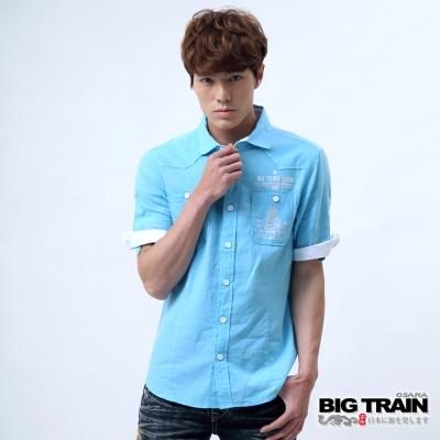 BIG TRAIN 棉麻素色襯衫-男-水藍