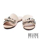 拖鞋 HELENE SPARK 低調閃爍水鑽飾一字絲緞平底拖鞋-米