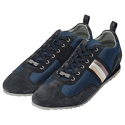 DOLCE&GABBANA 品牌銀牌三色斜紋造型麂皮休閒鞋(藏藍X深藍)