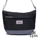 Lynx - 山貓城市悠遊款輕便質感馬鞍式側背包-質感黑