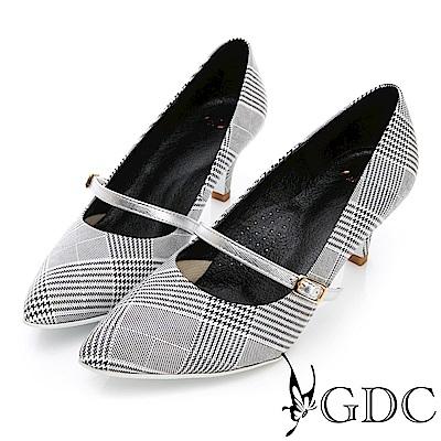 GDC-進口羊皮格紋英倫小香風淑女跟鞋-白色