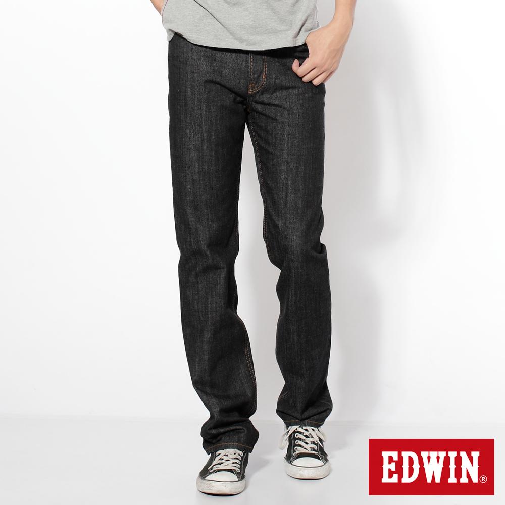 EDWIN 輕鬆俐落 基本五袋高腰中直筒牛仔褲-男款(黑色)