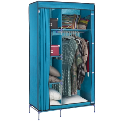 【免工具】95公分[寬]-三層四格(不織布) -吊衣櫥[含彩色布套]4色可選
