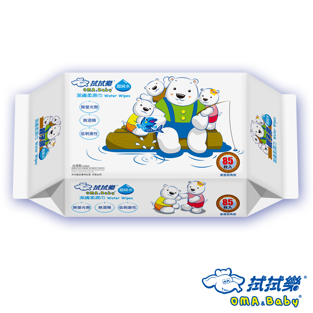拭拭樂超純水親子熊潔膚柔膚巾85抽x24包/箱