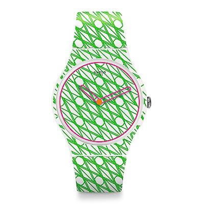 Swatch 藝術家聯名錶 粉綠二重奏手錶
