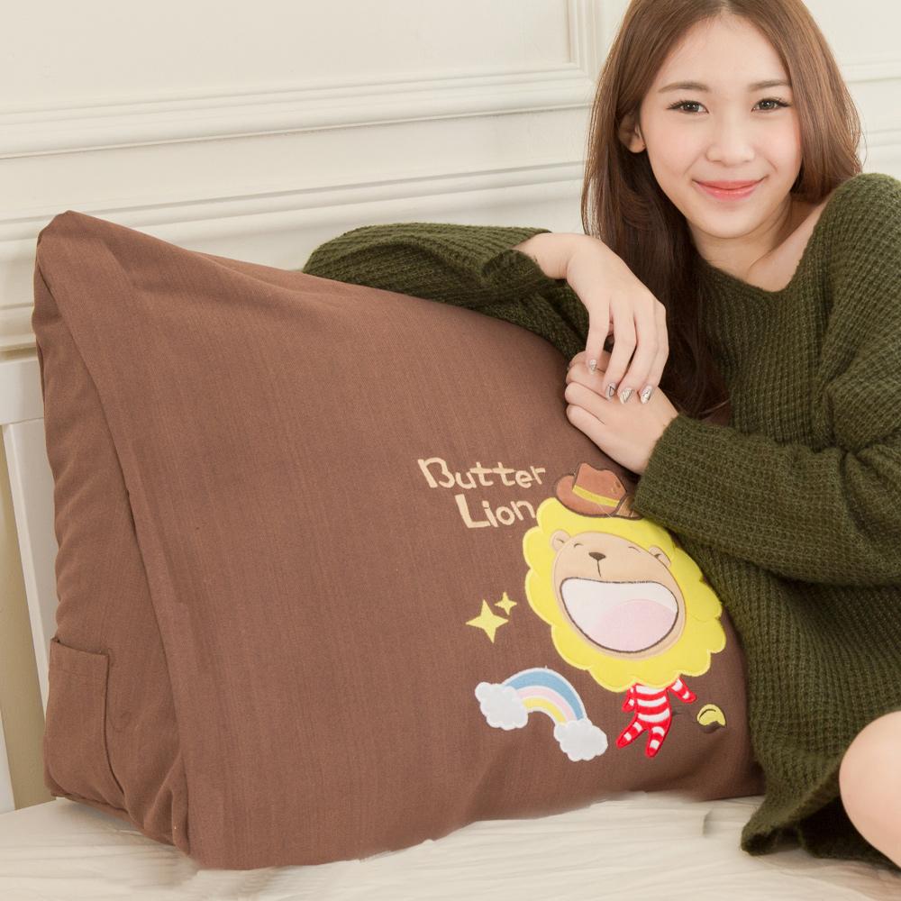 【奶油獅】正版授權-100%台灣製造 加厚貼布鏽 彩虹牛仔布套可拆三角靠墊/美腿枕(一入)