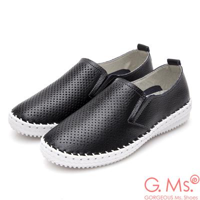 G.Ms. 洞洞牛皮縫線懶人休閒鞋O款-黑色