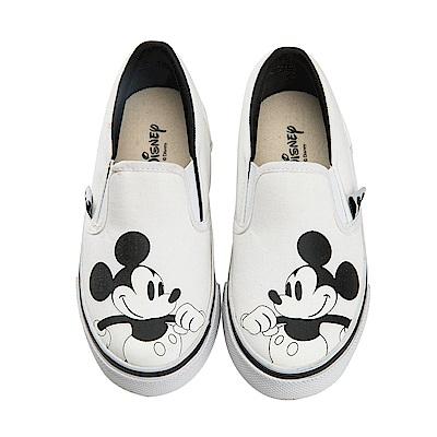 迪士尼 米奇 可愛復古造型 帆布便鞋-白