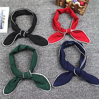 梨花HaNA 韓國文青女孩純色鑲邊直條絲巾小領巾裝飾