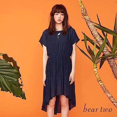beartwo 雙肩雪紡飄逸彈性縮腰洋裝(深藍)