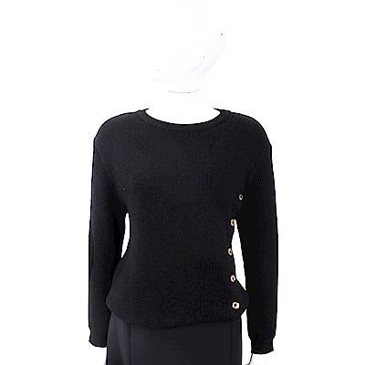 BOUTIQUE MOSCHINO 100%小羊毛金釦細節黑色坑條織紋羊毛衫