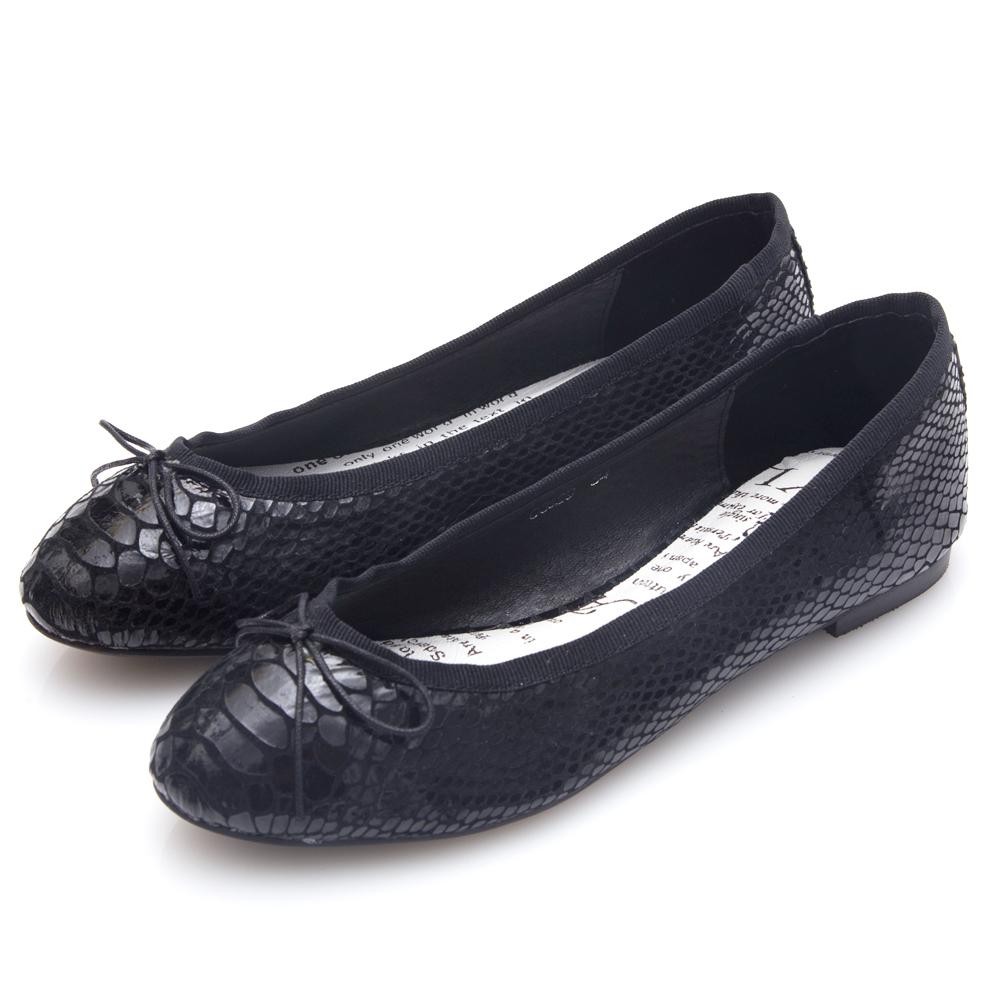 G.Ms. 蛇紋羊皮蝴蝶結芭蕾娃娃平底鞋-黑色