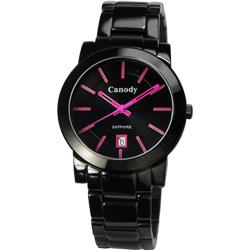 Canody 甜蜜情人日曆時尚中性錶(GVM2585-1E)-黑x桃紅/37mm