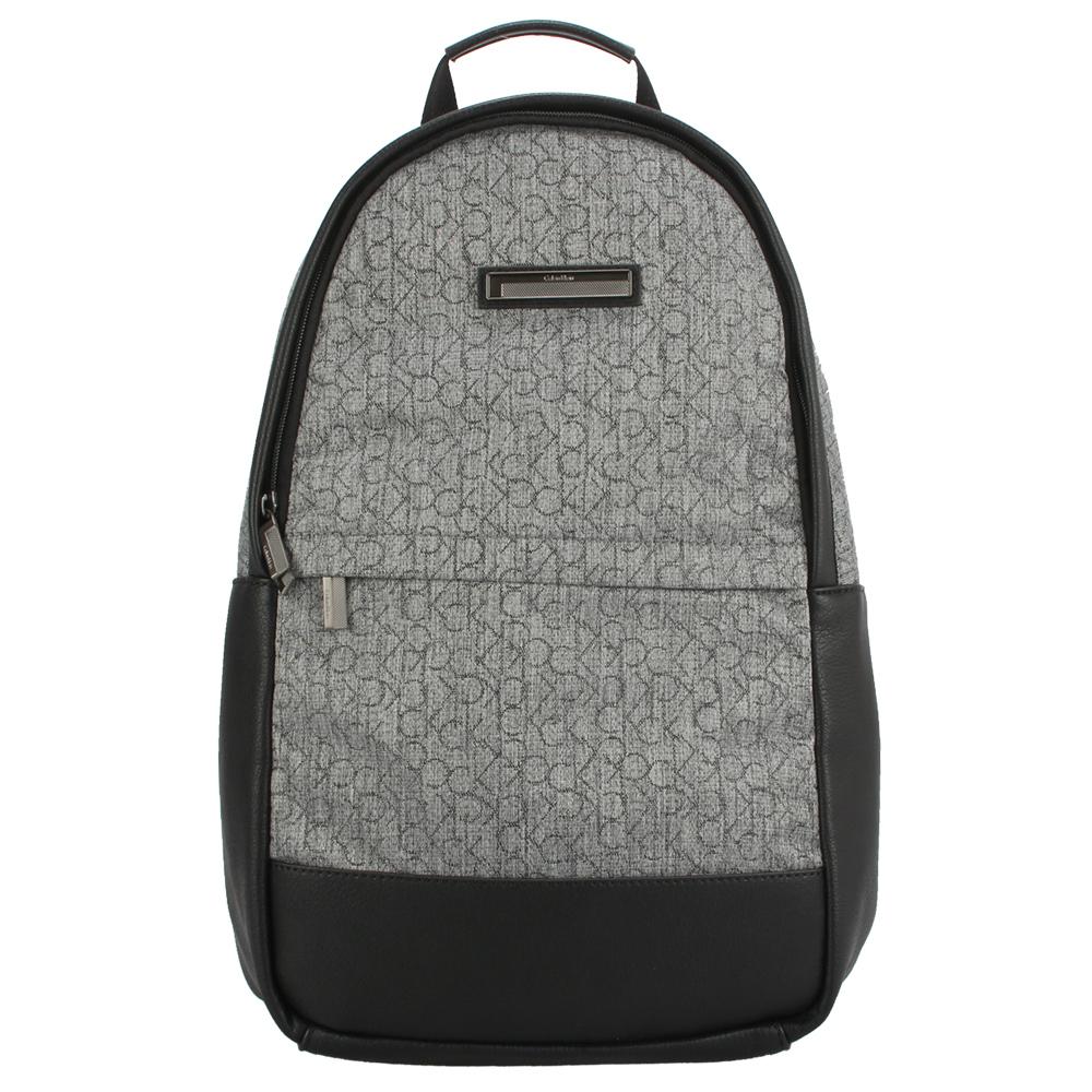 Calvin Klein 滿版LOGO織紋皮革飾邊後背包-灰色