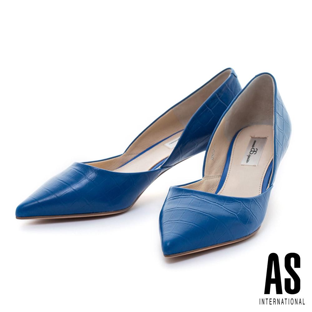 AS 鱷魚壓紋羊皮側空造型尖頭高跟鞋-藍