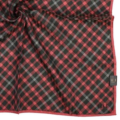DAKS 英倫風經典格紋純棉帕領巾-桃紅
