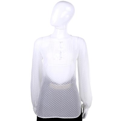 CLASS roberto cavalli 白色點點簍空蕾絲長袖上衣