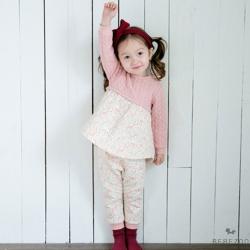 BEBEZOO 韓國 粉紅動物花園麻花紋傘狀長袖家居服2件組