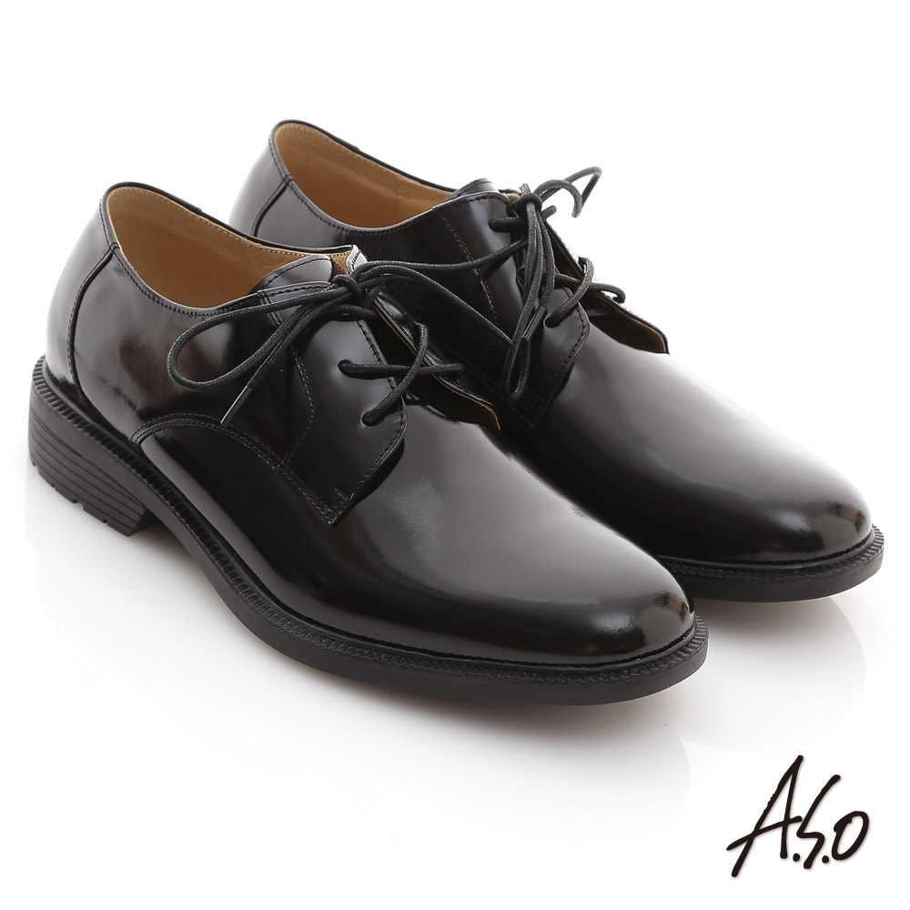 A.S.O 學生鞋系列 鏡面牛皮綁帶學生款皮鞋 黑