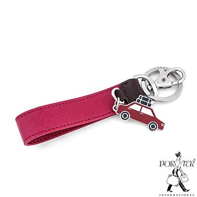PORTER-汽車吊飾真皮鑰匙圈-桃紅