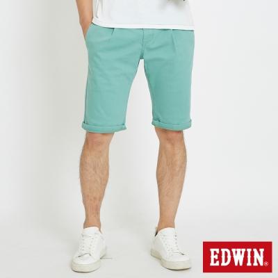 EDWIN 休閒打摺短褲-男-灰綠色