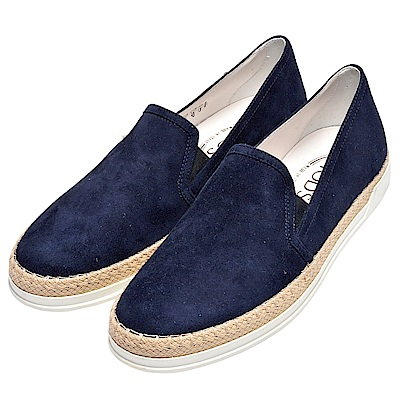 TOD-S 經典Slip-ons系列編織繩線飾邊麂皮休閒鞋(女-藍-38)