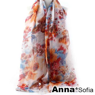 AnnaSofia-暈漫桔梗-巴黎紗披肩圍巾-虹桔