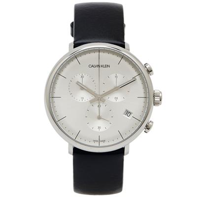 CK Calvin Klein high noon復古風計時款皮革手錶-銀面/43mm