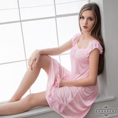 大尺碼-粉嫩柔緞睡衣L-2L-Annabery