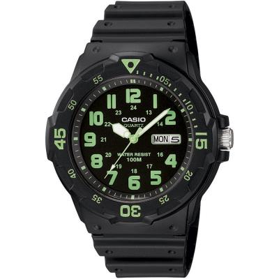CASIO 潛水風DIVER LOOK指針錶(MRW-200H-3B)-黑/綠刻度/44.6mm