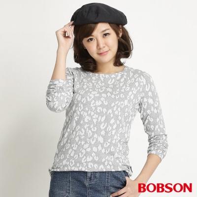 BOBSON 女款豹紋長袖上衣(麻花82)