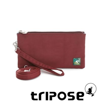 tripose 漫遊系列岩紋簡約微旅手拿/側肩包 酒紅