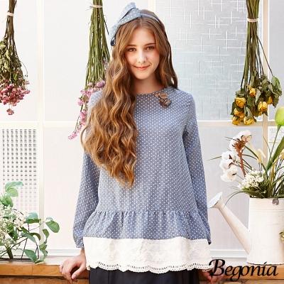 Begonia 點點布蕾絲層次拼接棉麻上衣(共二色)