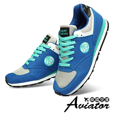 Aviator*韓國空運-PAPERPLANES正韓製麂皮網布透氣運動鞋-藍綠