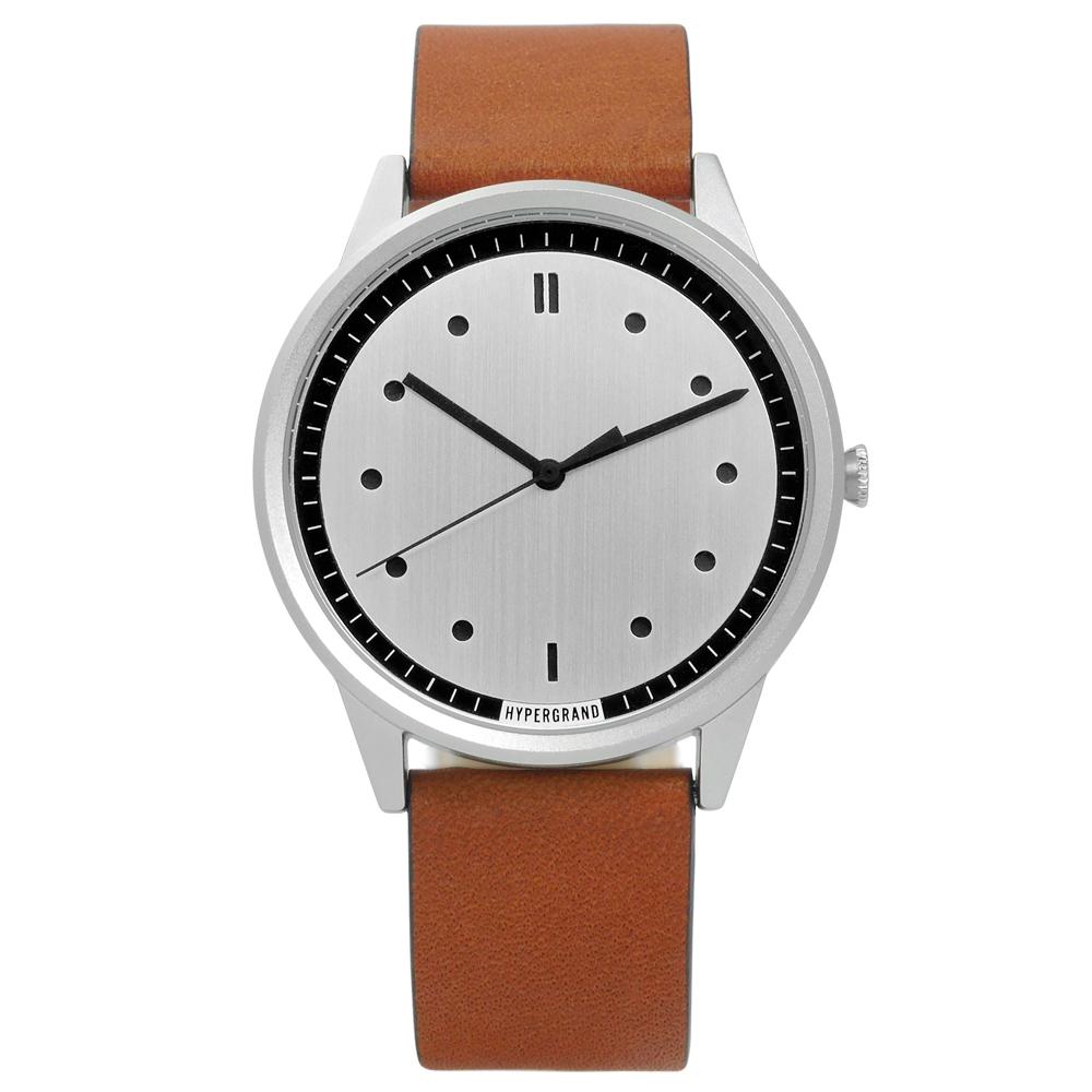 HyperGrand Classic Honey工業風真皮手錶-銀x咖啡/40mm