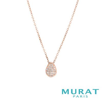 MURAT Paris米哈巴黎 璀璨滿鑽水滴項鍊(玫瑰金)