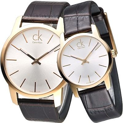 cK City 極簡品味風IP金對錶-銀白x咖啡色錶帶/43+33mm