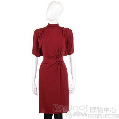 PHILOSOPHY 紅色側腰結飾短袖洋裝