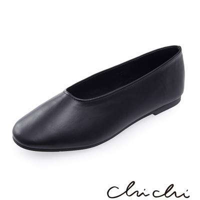 Chichi 韓國直送-繽紛春日 素面造型平底鞋*黑色