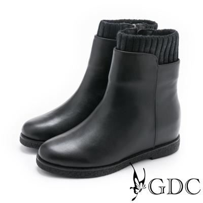 GDC-簡單大方質感襪靴-黑色
