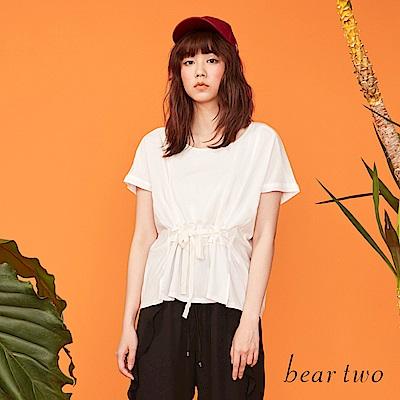 beartwo V型寬版剪裁綁帶造型上衣(二色)