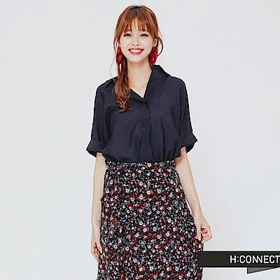 H:CONNECT 韓國品牌女裝 -間約風高質量單色襯衫-藍