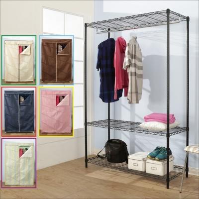 BuyJM鐵力士黑烤漆強固型三層單桿衣櫥附布套(90x45x180CM)-DIY
