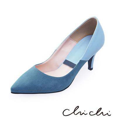 Chichi 韓國直送 正韓拼接尖頭高跟鞋*藍色