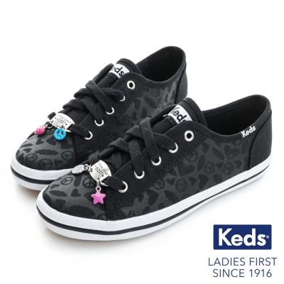 Keds 可愛墜飾綁帶休閒鞋(For Kids)-黑色