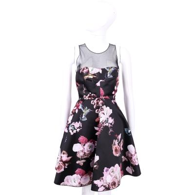 PINKO 黑色透視拼接花卉圖騰無袖洋裝