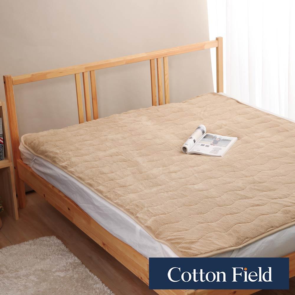 棉花田 暖暖 超細纖維雙人加大保暖墊-褐色