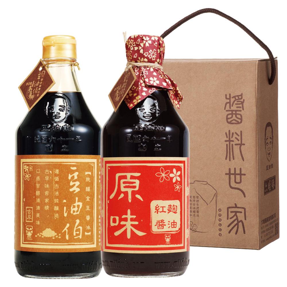 豆油伯  醬油禮盒組-金豆醬油(500ml)+紅麴醬油(500ml)
