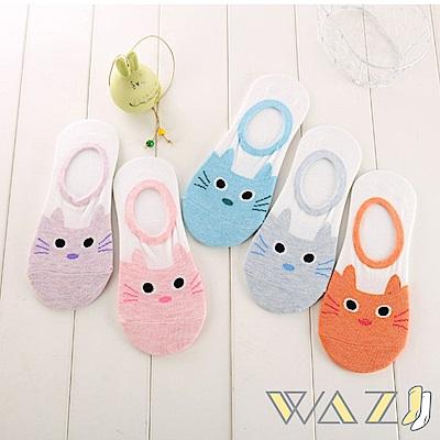 Wazi-龍貓貓咪粉嫩色防滑船襪隱形襪 (1組五入 顏色隨機)