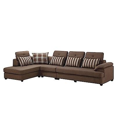 品家居 柏菲亞麻布L型獨立筒沙發(左右可選)- 348 x 195 x 82 -免組